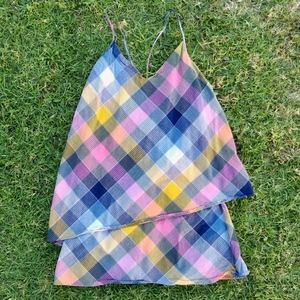 Patagonia Asymmetric Plaid Tiered Sundress Size 6